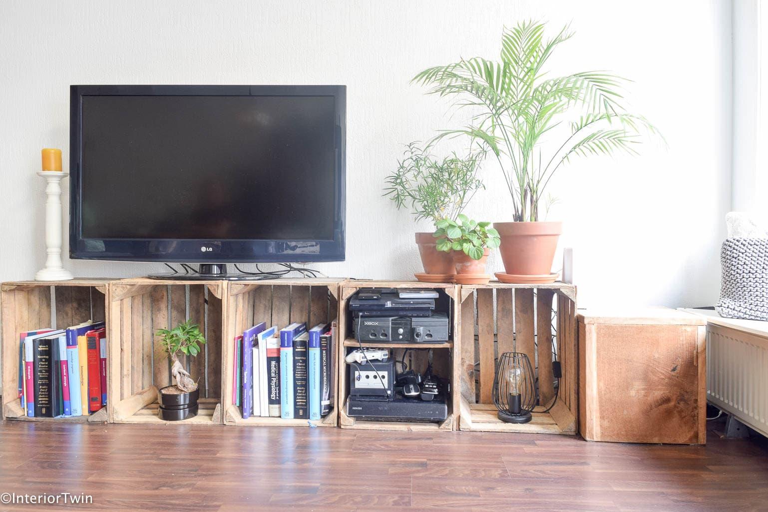 tvmeubel van houten kistjes