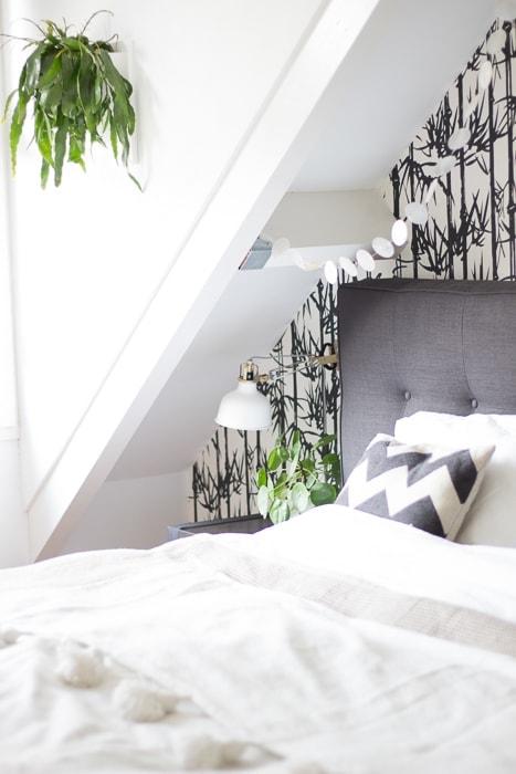 slaapkamer zwart wit en groen - InteriorTwin