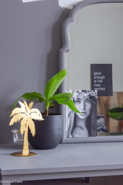 waxinelichthouder palmboom goud