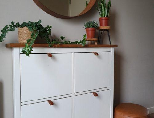 IKEA hack: HEMNES schoenenkast met leren handgrepen